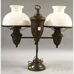 Edward Miller & Co. Duplex Brass Adjustable Double Student Lamp with a Pair of   Opaque Glass Shades
