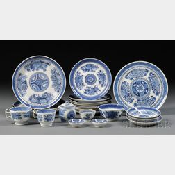 Assembled Group of Blue Fitzhugh Decorated Porcelain Table Items