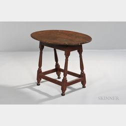 Red-painted Oval-top Tea Table