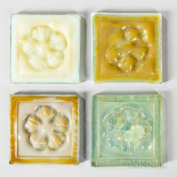 Four Louis Comfort Tiffany Tiles