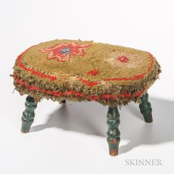 Upholstered Stool with Turned Green Legs