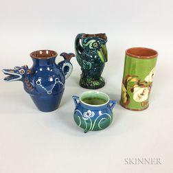 Four Longpark Slip-decorated Pottery Items