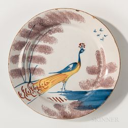 English Tin-glazed Earthenware Peacock-decorated Plate