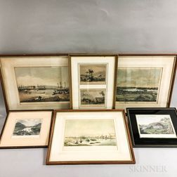 Group of Framed and Unframed Hand-colored Lithographs and Engravings