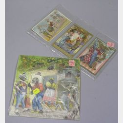 Three Chromolithograph Embossed Labor Day Post Cards and an 1884 A & P   Chromolithograph Black Caricature Our Boarding House