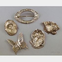 Five Art Nouveau and Art Nouveau Style Brooches