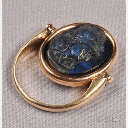 Art Nouveau 14kt Gold and Labradorite Cameo Swivel Ring