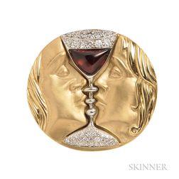 """18kt Gold Gem-set """"Tristan and Isolde"""" Pendant/Brooch, Henryk Kaston, Designed by Salvador Dali"""