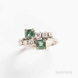14kt White Gold, Tourmaline, and Diamond Ring
