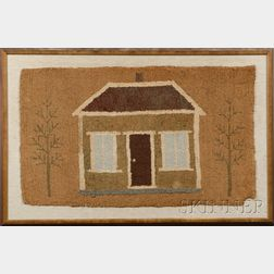 Framed Hooked Rug with House and Trees
