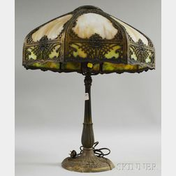Miller Lamp Co. Metal Overlay Slag Glass Bent Panel Table Lamp with Cast Metal   Base