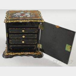 Rococo Revival Gilt and Mother-of-pearl Inlaid Black Lacquered Sewing Cabinet