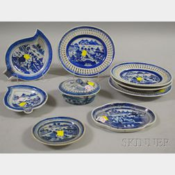 Nine Pieces of Chinese Export Porcelain Canton Tableware