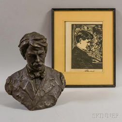 Plaster Bust and a Framed Woodblock Portrait on Paper of Edward MacDowell