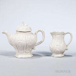 Two Staffordshire White Salt-glazed Stoneware Items