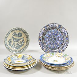 Twelve Spanish Faience Plates, Bowls, and Chargers