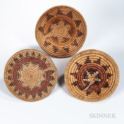 Three Coiled Navajo Wedding Baskets