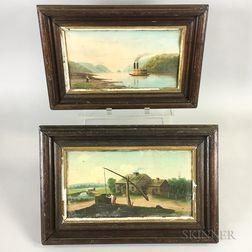 Pair of Small Framed Folk Art Landscapes