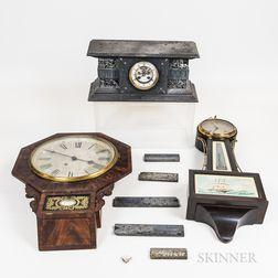 Two Wall-mounted Clocks and a Slate Mantel Clock
