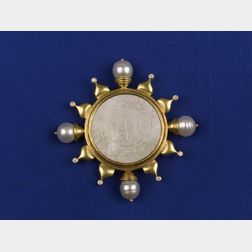 18kt Gold, Mother-of-Pearl and South Sea Pearl Brooch