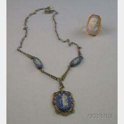 Wedgwood Dark Blue Jasperware Pendant Necklace and 14kt Gold and Wedgwood Pink Jasperware Cameo Ring.