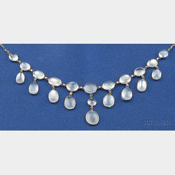 Art Nouveau 14kt Gold and Gilt Metal Moonstone Fringe Necklace