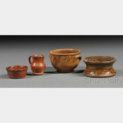 Four Miniature Redware Items