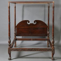 Georgian-style Carved Mahogany Tester Bed