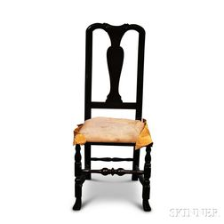 Queen Anne Carved and Stained Maple Side Chair