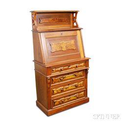 Renaissance Revival Walnut and Burl Veneer Fall-front Desk