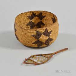 Northern California Twined Basket and a Single Miniature Wood Snowshoe