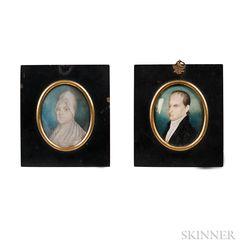 Edward Green Malbone (Rhode Island, 1777-1807)      Pair of Miniature Portraits of Aleph and Francis Brinley