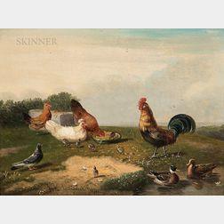 Frans Van Severdonck (Belgian, 1809-1889)      Rooster, Hens, Chicks, Ducks, and Pigeon in a Landscape