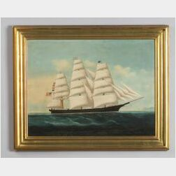 Chinese Export School, 19th Century  Portrait of the American Clipper Ship The Charles B. Kenney of New York.