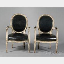 Pair of Louis XVI Beechwood Fauteuils en Cabriolet
