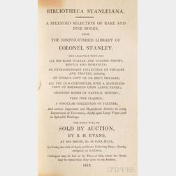 Stanley, Thomas (fl. circa 1813) Bibliotheca Stanleiana