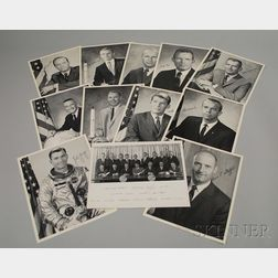 Eleven Autographed Portrait Photograph Prints of the First Sixteen NASA Astronauts to Join the Manned Spacecraft Center Training Progra