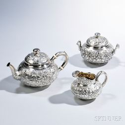 Three-piece Whiting Sterling Silver Tea Service