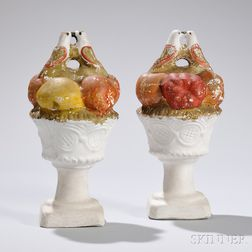 Pair of Chalkware Fruit in Compotes