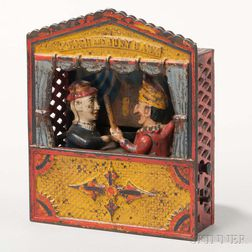 Cast Iron Punch and Judy Mechanical Bank