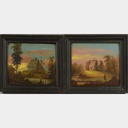Attributed to William Matthew Prior (Massachusetts/Maine, 1806-1873)      Two Landscape Portraits with Houses