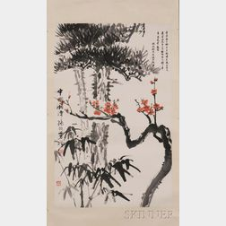 Hanging Scroll Depicting Plum Blossom, Bamboo and Pine