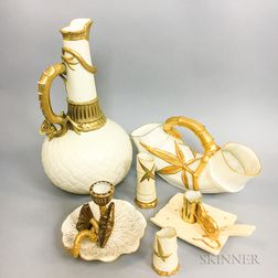 Six Royal Worcester Gilt Ivory Porcelain Items