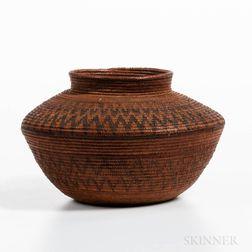 Panamint Shoshone Polychrome Bottleneck Basket