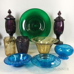 Ten Colored Glass Items