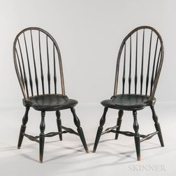 Pair of Green-painted Bow-back Windsor Side Chairs