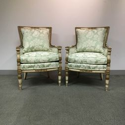 Pair of Louis XVI-style Painted and Upholstered Bergeres