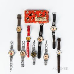 Nine Mickey Mouse and Three Animated Character Wristwatches