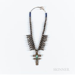 Navajo Silver and Turquoise Squash Blossom Necklace