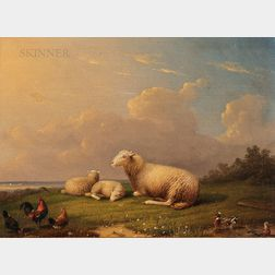 Frans Van Severdonck (Belgian, 1809-1889)      Sheep Resting in a Meadow